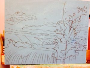 14. Romani Hillside with Tree Sketch