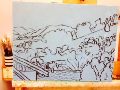 9. Romania Hillside Sketch