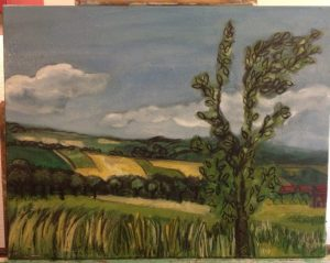 romania hillside with tree 2nd coat