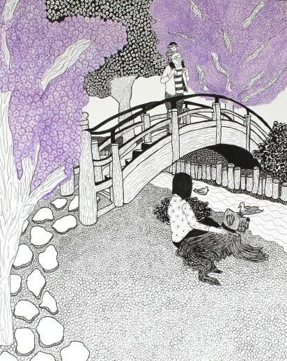 my favorite things about this drawing are the bridge and micah and e looking off of the bridge - Japanese Garden Bridge Drawing